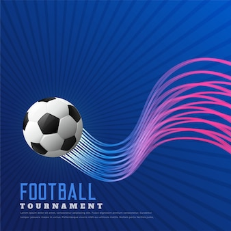 Blauwe voetbal spel achtergrond met glanzende golvende lijnen
