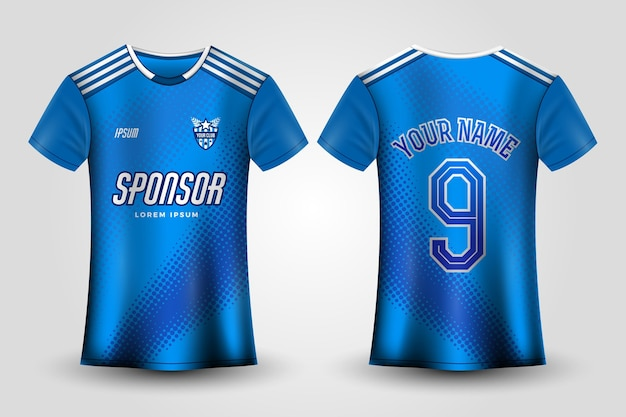 Blauwe voetbaltrui uniform