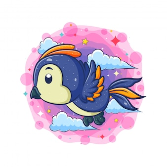 Blauwe vogel die met wolkenachtergrond vliegt