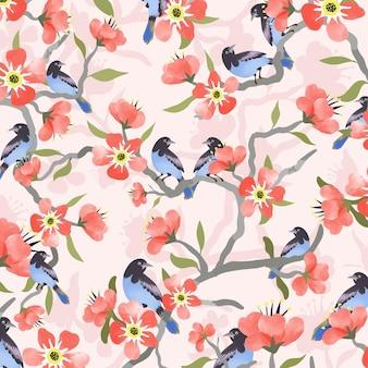 Blauwe vogel en roze rode bloem.