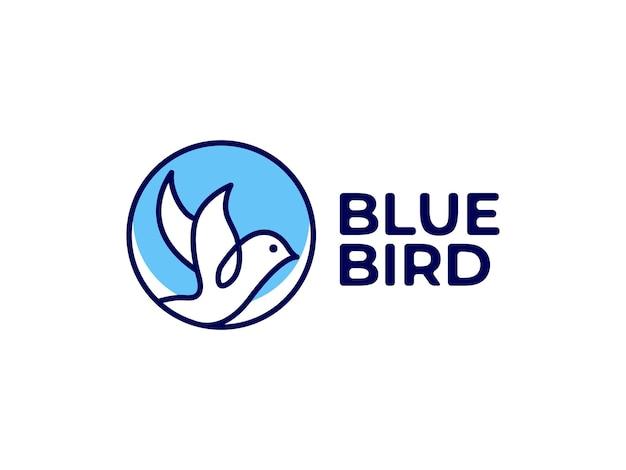 Blauwe vogel logo ontwerpconcept