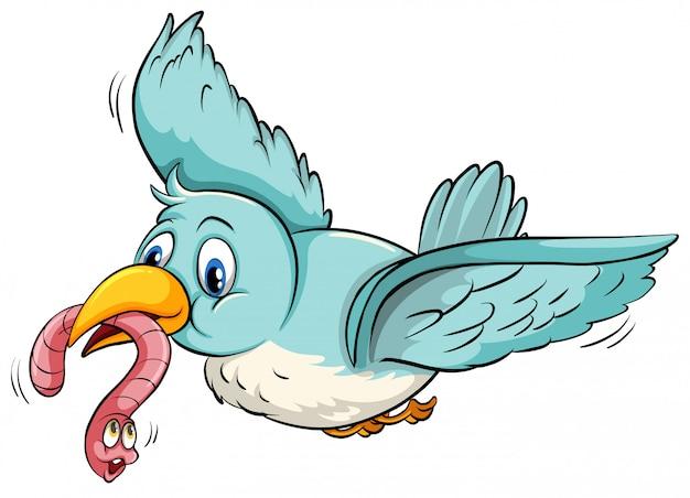 Blauwe vogel met het vliegen