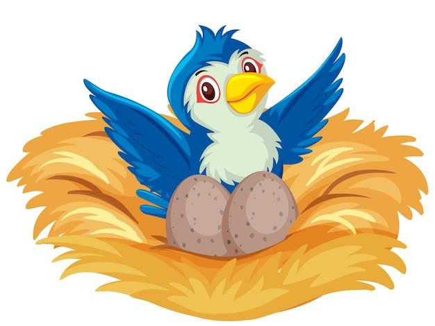 Blauwe vogel op het nest met eieren