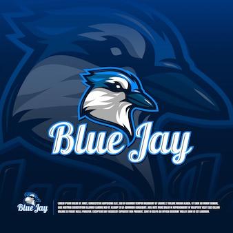 Blauwe vogel team logo sjabloon