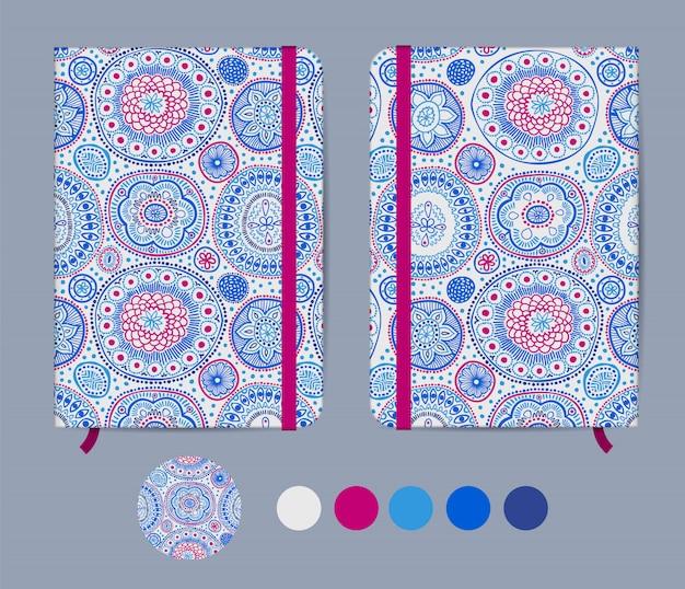 Blauwe voorbeeldenboeksjabloon met elastiek en bladwijzer met abstract ontwerp