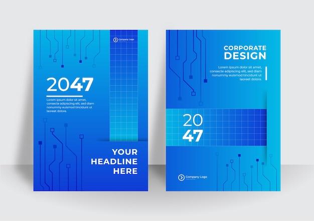 Blauwe voorbladsjabloon met tech achtergrond concept. abstracte technologie cover met printplaat. high-tech brochure ontwerpconcept. set van futuristische zakelijke lay-out