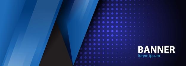 Blauwe vorm met halftone banner