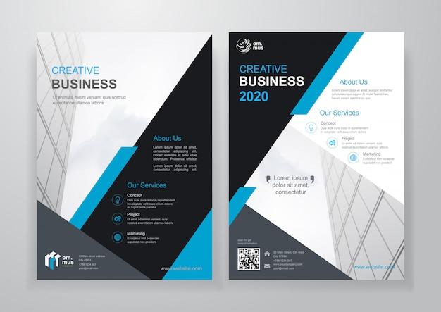 Blauwe vorm zakelijke tweevoudige brochure of flyer