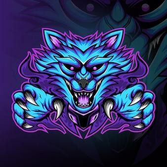 Blauwe vos gaming mascotte logo vector