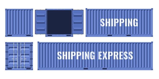 Blauwe vrachtcontainer voor vrachtvervoer vanuit verschillende invalshoeken. platte vectorillustratie geïsoleerd