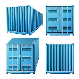 Blauwe vrachtcontainer