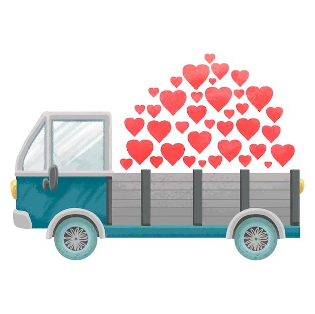 Blauwe vrachtwagen geladen met hart geïsoleerd op wit Premium Vector
