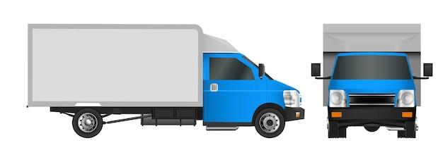 Blauwe vrachtwagen sjabloon. levering van bedrijfsvoertuigen in de stad.