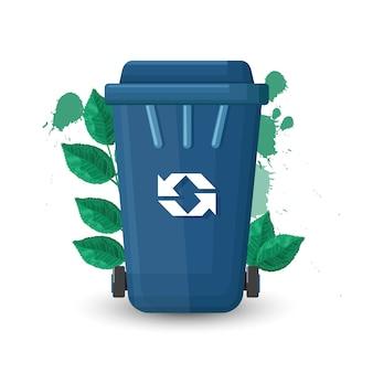 Blauwe vuilnisbak met deksel en ecologieteken. groene bladeren op achtergrond