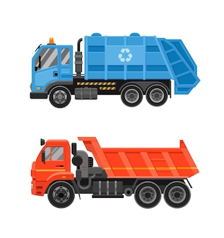 Blauwe vuilniswagen met voorlader en oranje kiepwagen