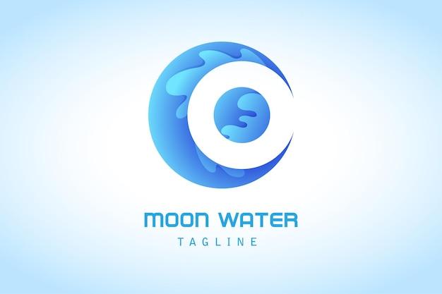 Blauwe wassende maan met water splash gradiënt logo