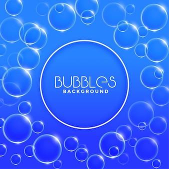 Blauwe water of zeepbelsachtergrond