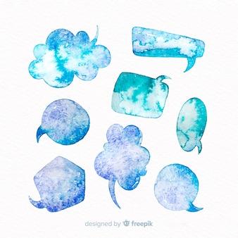 Blauwe watergekleurde tekstballonnen met verschillende vormen