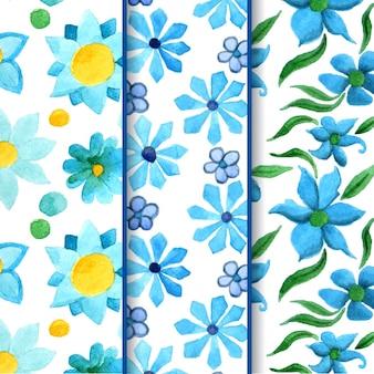 Blauwe waterverf bloempatronen