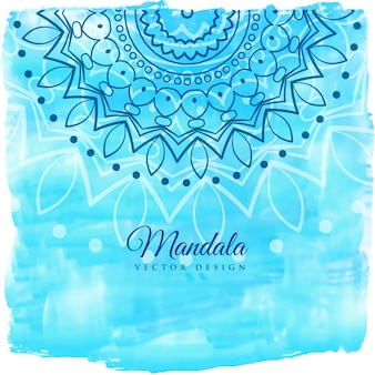 Blauwe waterverfachtergrond met mandalakunst