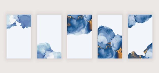 Blauwe waterverfalcoholinkt voor banners van sociale mediaverhalen