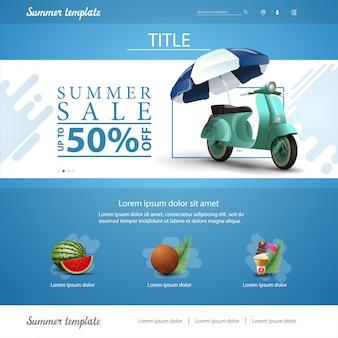 Blauwe website interface sjabloon voor zomer kortingen en verkoop