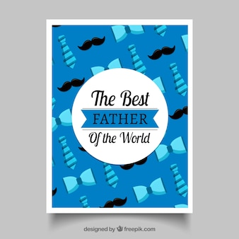 Blauwe wenskaart met stropdassen en snorren voor vaderdag