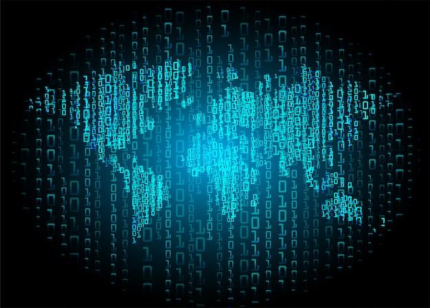 Blauwe wereld binaire cybercircuit toekomstige technologie