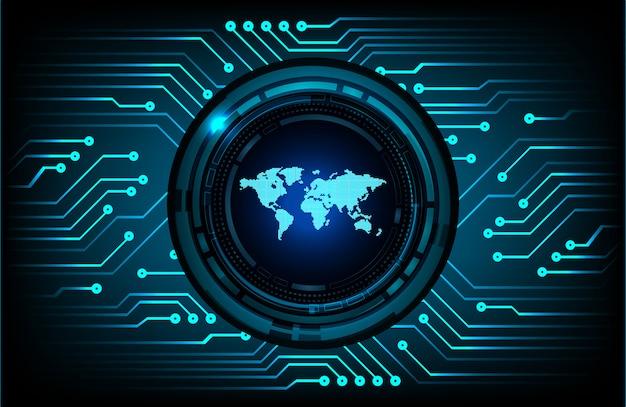 Blauwe wereld cyber circuit toekomstige technologie achtergrond