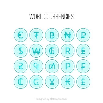 Blauwe wereld valuta pakken
