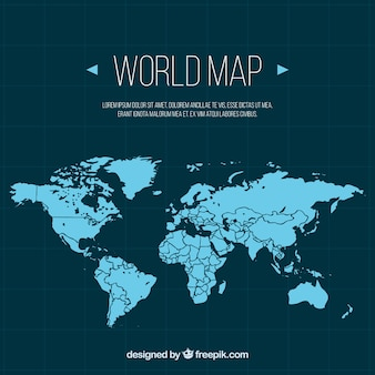Blauwe wereldkaart in plat design