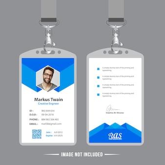 Blauwe werknemer id-kaart ontwerpsjabloon