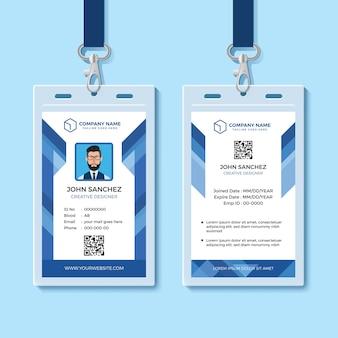 Blauwe werknemer identiteitskaart sjabloon