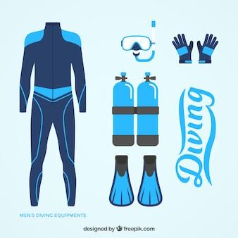Blauwe wetsuit en duiken elementen in plat design
