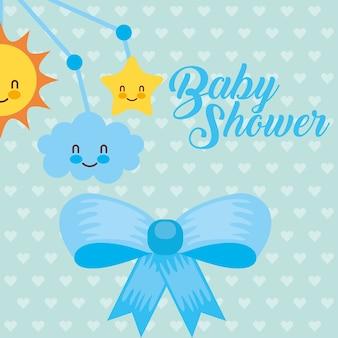 Blauwe wieg mobiel speelgoed en boog decoratie babydouche kaart
