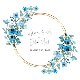 Blauwe wilde bloemen aquarel krans met gouden frame