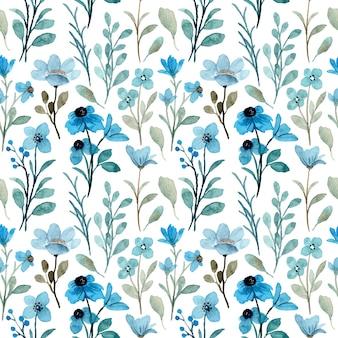 Blauwe wilde bloemen aquarel naadloze patroon