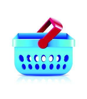 Blauwe winkelmandje vector, online winkelen