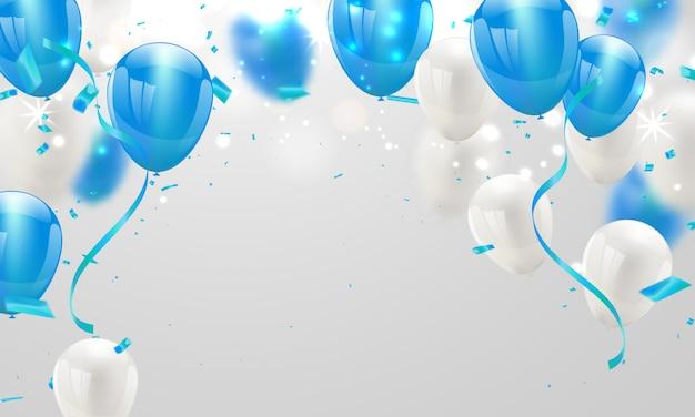 Blauwe witte ballonnen en confetti achtergrond