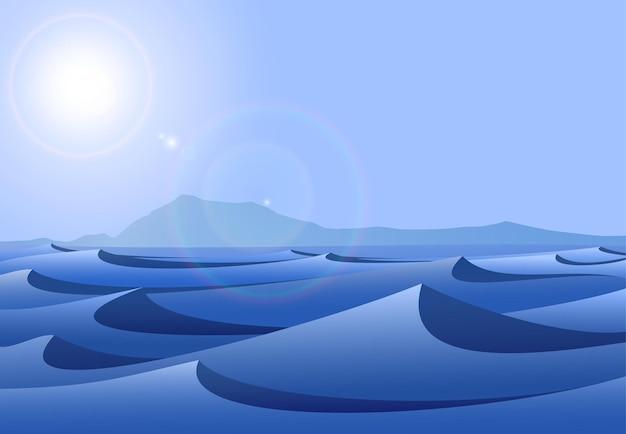 Blauwe woestijnlandschap illustratie