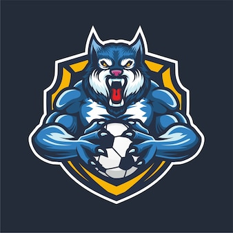 Blauwe wolf esport logo mascotte voor basketbal