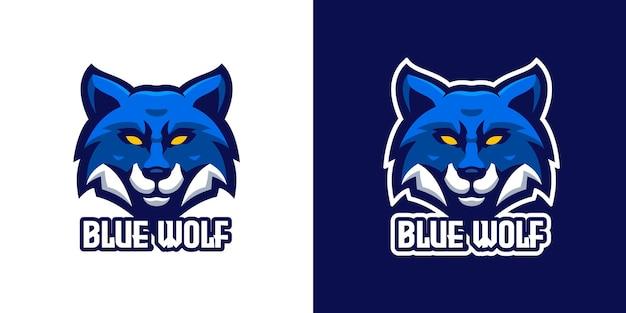 Blauwe wolf mascotte karakter logo sjabloon