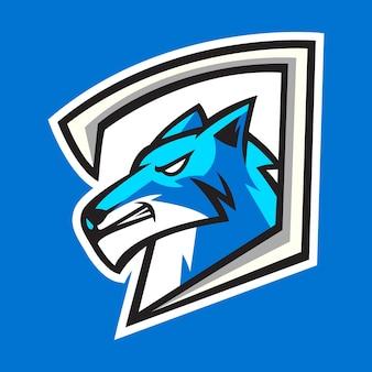 Blauwe wolf mascotte logo ontwerp vector