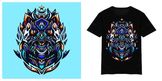Blauwe wolf vector tshirt illustratie
