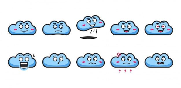 Blauwe wolk cartoon karakter emoji expressie emoticon gelaatsuitdrukking set