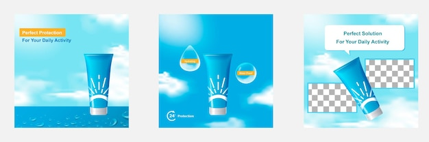 Blauwe wolk lucht cosmetische social media post banner sjabloon voor product display achtergrond