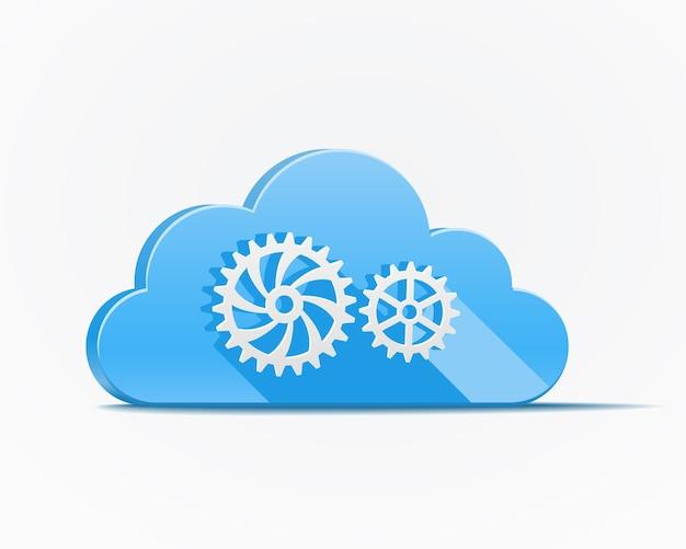 Blauwe wolk met versnellingen of tandwielen die de cloud computing-industrie afschilderen