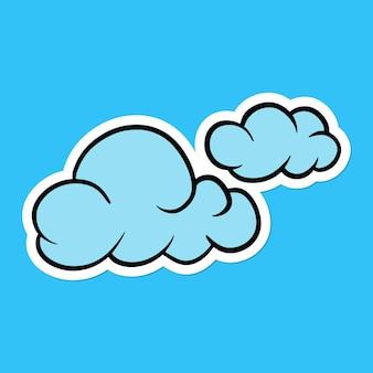 Blauwe wolkensticker met een witte rand op een blauwe achtergrond