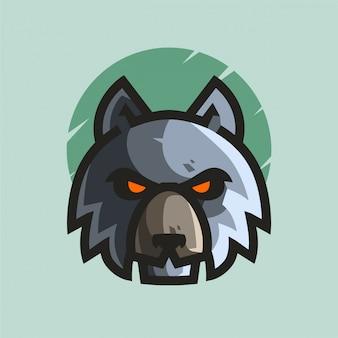 Blauwe wolven mascotte logo