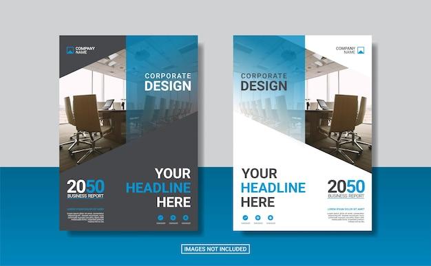 Blauwe zakelijke boekomslag ontwerpsjabloon